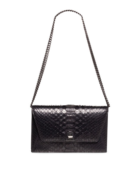 Anouk Python Snakeskin Envelope Clutch Bag