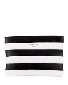 Striped Pochette Wallet Bag by Balmain