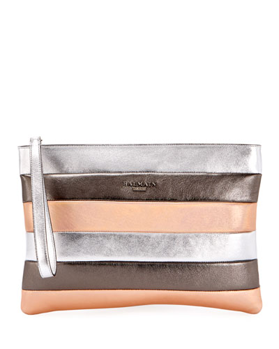 Colorblock Striped Pochette Wallet