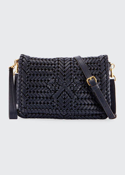 The Neeson Woven Leather Crossbody Bag
