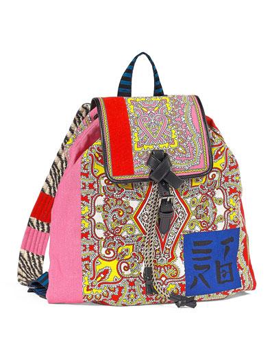 Multi-Brocade Drawstring Backpack