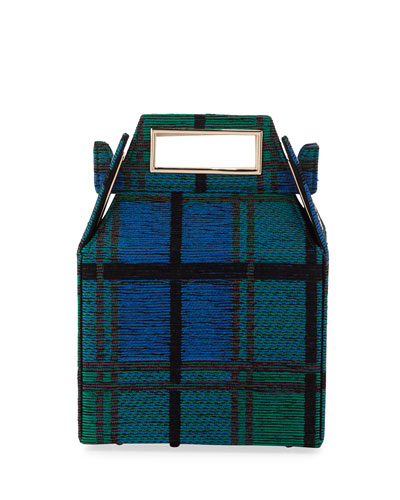 Jacquard Takeout Top Handle Bag, Blue Pattern