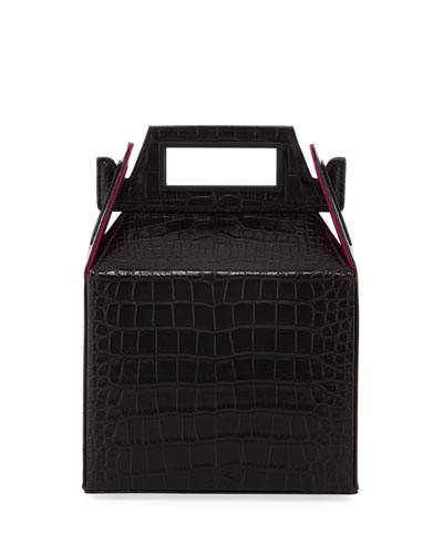 Stamped Croc Takeout Top Handle Bag, Black