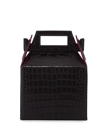 POP & SUKI Stamped Croc Takeout Top Handle Bag, Black