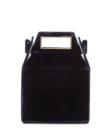 POP & SUKI Velvet Takeout Top Handle Bag, Dark Blue