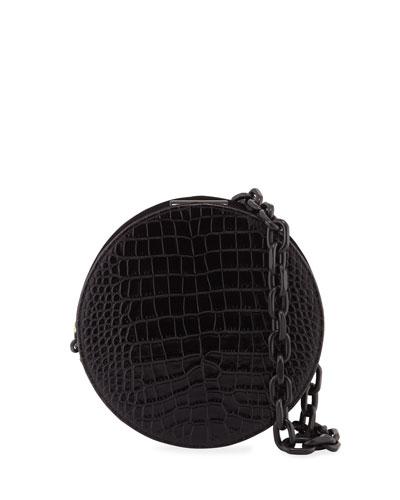 Stamped Croc Saturn Crossbody Bag