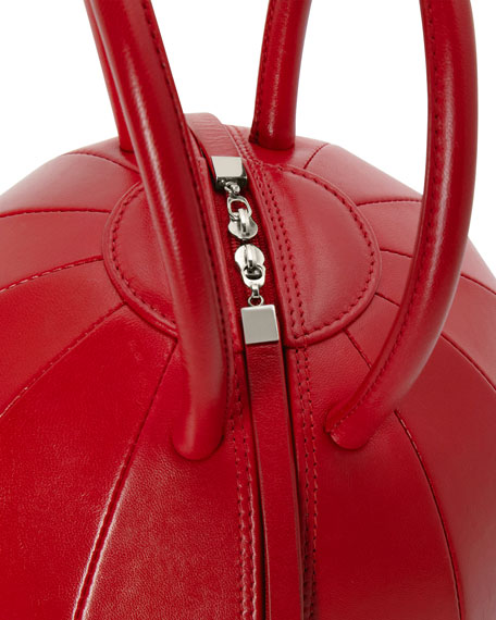 PILO Leather Circle Top Handle Bag, Red