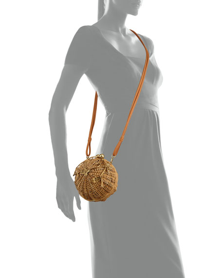 Rattan Brass Lulu Circle Crossbody Bag
