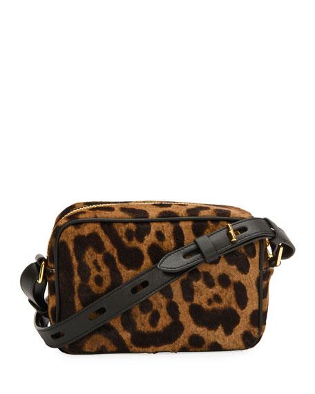 Leopard Calf Hair Camera Crossbody Bag