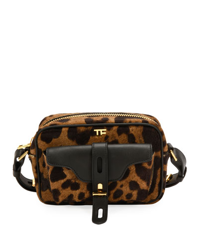 Leopard Calf Hair Camera Crossbody Bag