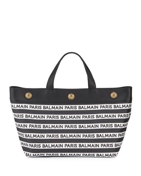 Balmain Toile Enduite Small Logo Tote Bag