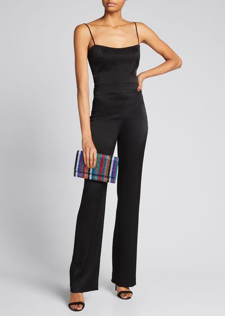 Fizzoni Candy Stripe Crystal Clutch Bag