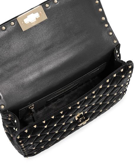 Rockstud Velvet Spike Medium Shoulder Bag