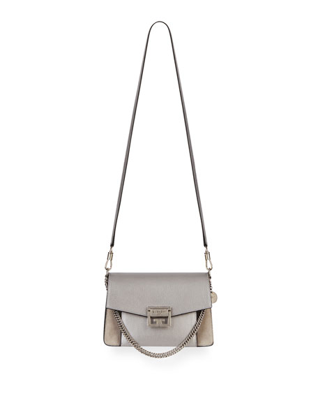 51ae7901eff67 Givenchy GV3 Small Metallic Leather & Suede Shoulder Bag