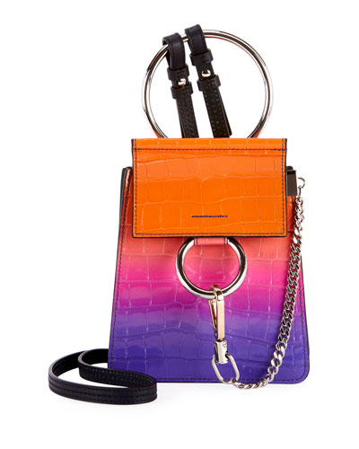 Faye Color Shading Croc-Embossed Bracelet Bag