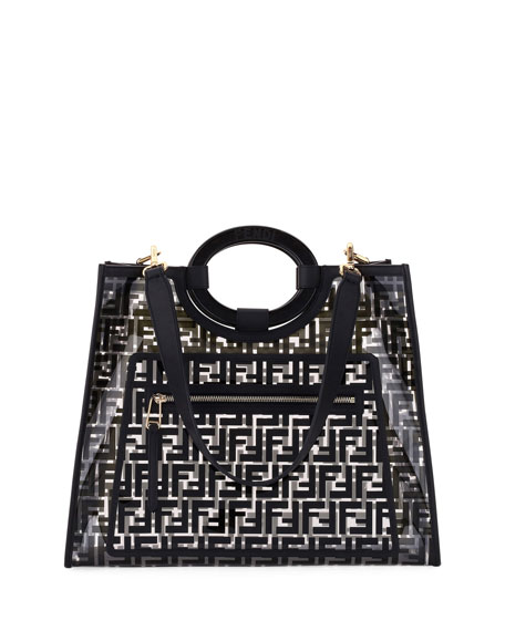 Fendi Runaway Medium FF PVC Shopper Tote Bag