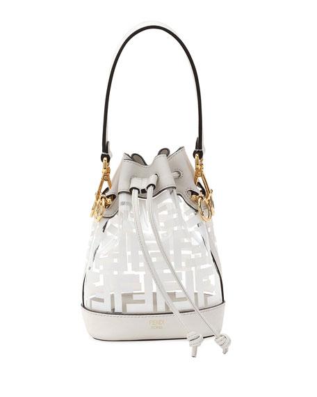 2728e905bea6 Fendi Mini Mon Tresor Leather-Trim Bucket Bag In White