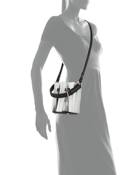 Mini Plisse Pleated Leather Bucket Bag