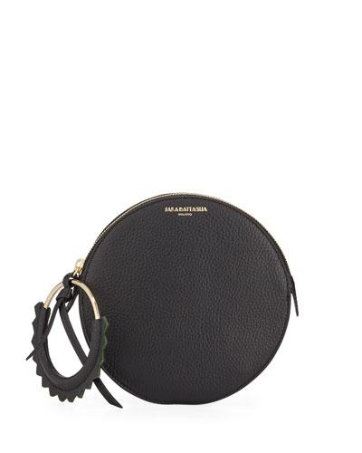 Helen Round Leather Wristlet Bag