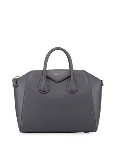 Antigona Medium Leather Satchel Bag  Red