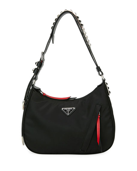 bf663343bf23 Prada Prada Black Nylon Shoulder Bag w  Studding