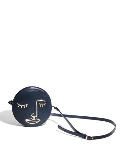 Hope Leather Circle Shoulder Bag, Navy