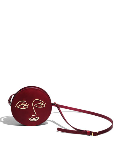 Love Leather Circle Shoulder Bag, Wine