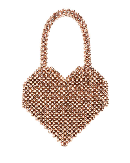 Maria Beaded Heart-Shape Top-Handle Bag