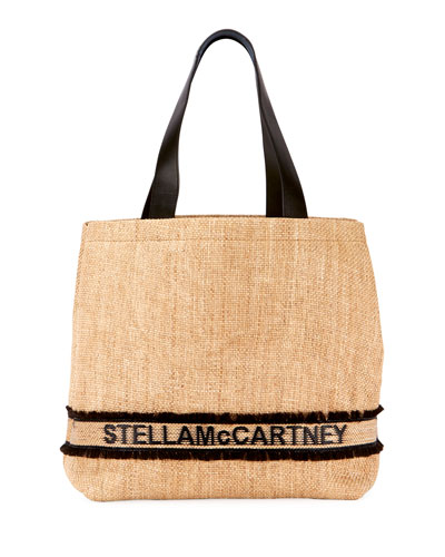 Monogram Woven Raffia Tote Bag