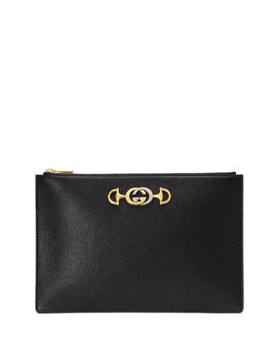 227febea046 Gucci Zumi Leather Pouch Clutch Bag