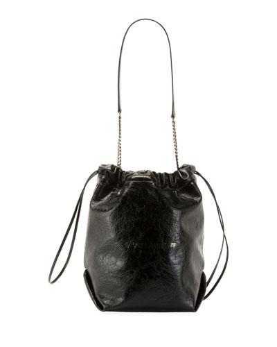Teddy Large Crinkle Leather Drawstring Bucket Bag