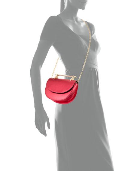 Mini Half Moon Metallic Leather Top-Handle Bag