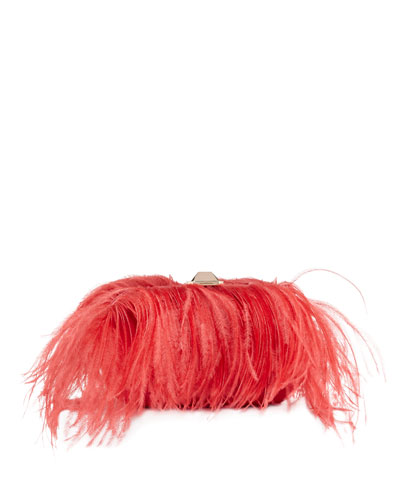 Satin Ostrich Feather Clutch Bag  Bright Pink
