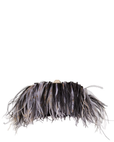 Satin Ostrich Feather Clutch Bag  Black/Purple