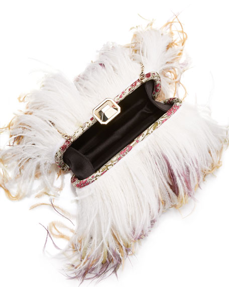Satin Ostrich Feather Clutch Bag, White