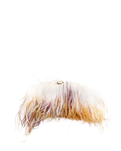 Satin Ostrich Feather Clutch Bag  White