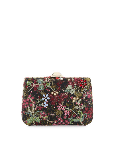 Jacquard Peonia Clutch Bag  Black Pattern