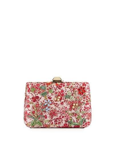 Jacquard Peonia Clutch Bag  Pink Pattern