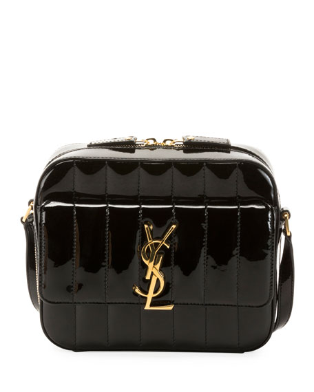Vicky Medium YSL Monogram Quilted Patent Camera Bag