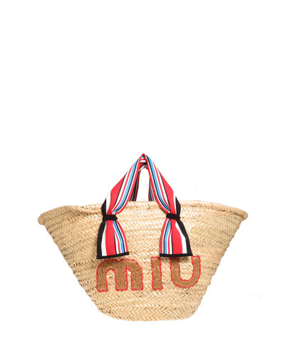 Straw Ribbon-Handle Shopper Tote Bag