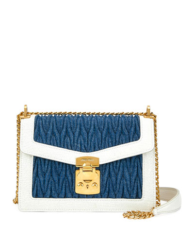 d9414243a36d Denim Matelasse Flap Shoulder Bag Quick Look. Miu Miu