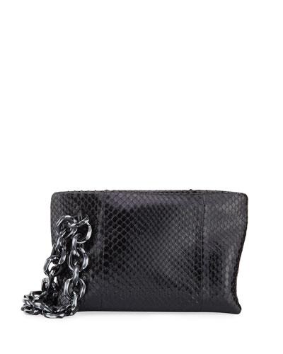 Scull Python Chain Clutch Bag