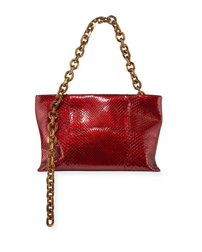 Scull Soft Chain Clutch Bag