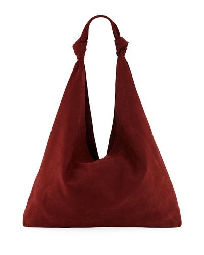 Bindle Double-Knot Suede Shoulder Bag