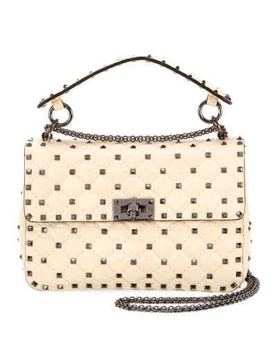 Rockstud Spike Medium Shoulder Bag  Ivory