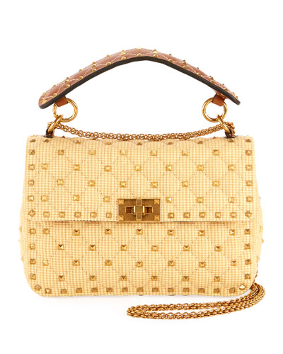 Rockstud Spike Medium Shoulder Bag  Neutral