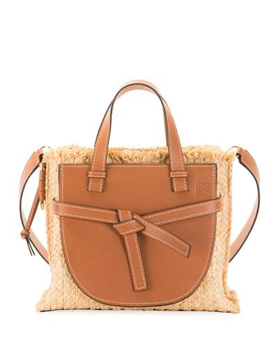 Gate Small Raffia Top-Handle Tote Bag