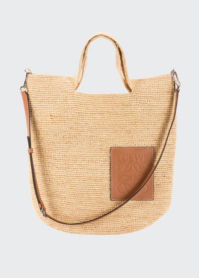 Slit Raffia and Calf Shoulder Bag