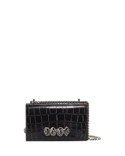 Jewelled Crocodile-Embossed Satchel Bag