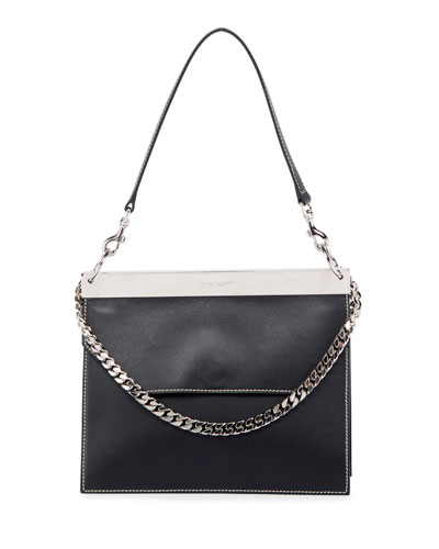 Bar Colorblock Leather Shoulder Bag